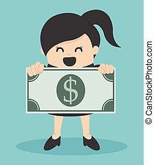 dinheiro, negócio mulher, segurando