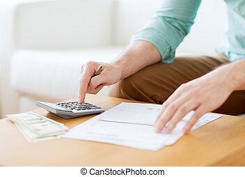 dinheiro, notas, cima, fazer, fim, contagem, homem
