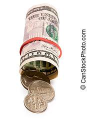 dinheiro, notas, e, moedas