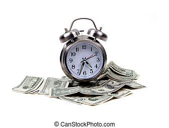 dinheiro, objetos, -, tempo