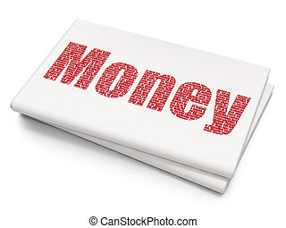 dinheiro, operação bancária, fundo, em branco, jornal, concept: