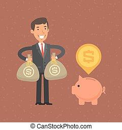 dinheiro, pôr, cofre, homem negócios