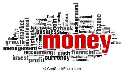 dinheiro, palavra, nuvem