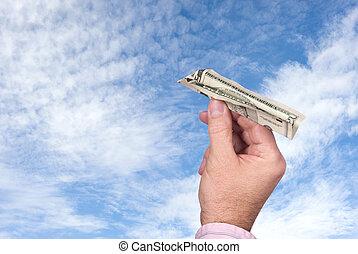 dinheiro, papel, lançar, avião, homem
