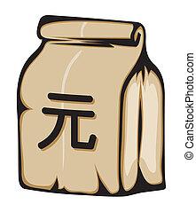 dinheiro, papel, yuan, saco