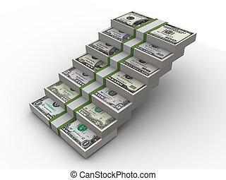 dinheiro, passos, fazer