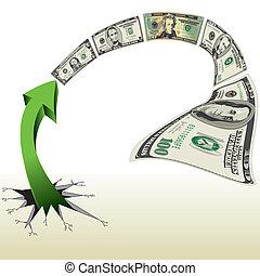 dinheiro, perseguição, fraturas, seta, saída