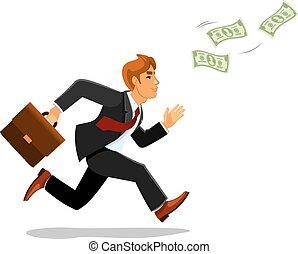 dinheiro, perseguição, mala, homem negócios