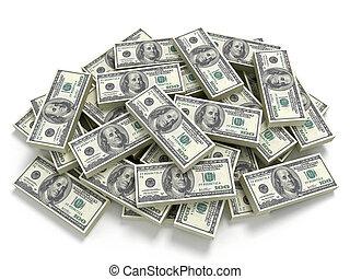 dinheiro, pilha, grande