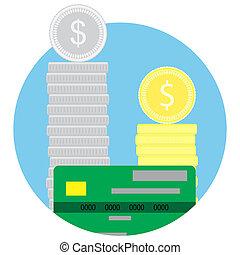 dinheiro, pilha, moedas, e, cartão crédito