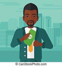 dinheiro, pocket., pôr, homem