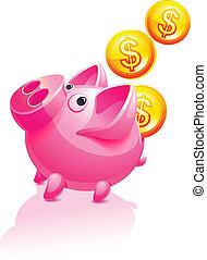 dinheiro., porca, piggy, v, queda, banco