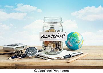 dinheiro, poupança, em, um, frasco vidro, ligado, céu azul, fundo, viagem, conceito