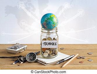 dinheiro, poupança, em, um, frasco vidro, ligado, mapa mundial, fundo, viagem, conceito