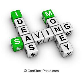 dinheiro, poupar, idéias, crossword
