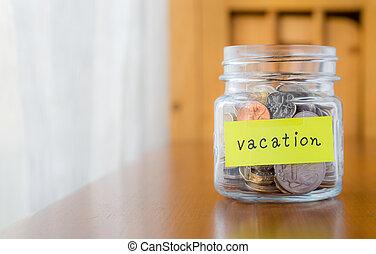 dinheiro, poupar, para, viagem, e, férias