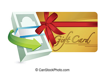 dinheiro, presente, desenho, cartão, ilustração