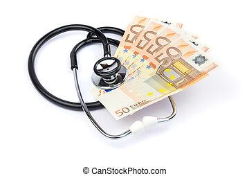 dinheiro, pretas, profissional, estetoscópio, branca, euro