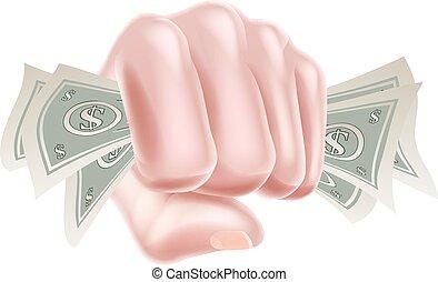 dinheiro, punho, segurando mão