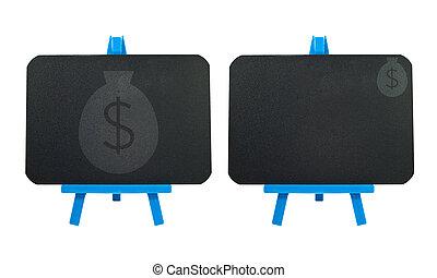 dinheiro, quadro-negro, fundo, ícone, em branco