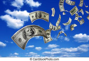 dinheiro, queda, contas, $100