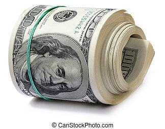 dinheiro., rolo