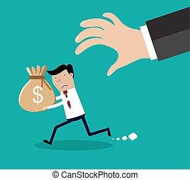 dinheiro, saco mão, tries, agarramento, caricatura