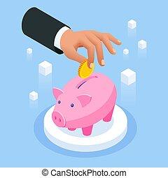 dinheiro saving, banco, queda, isometric, ouro, concept.,...