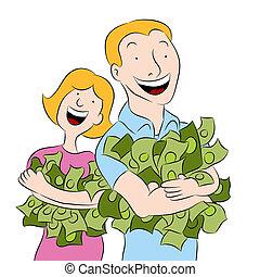 dinheiro, segurando, pilhas, pessoas