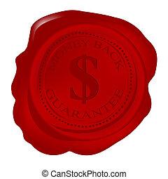 dinheiro, selo, garantia, costas, cera