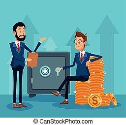 dinheiro, sentando, homem negócios, caricatura, moedas, pilhas