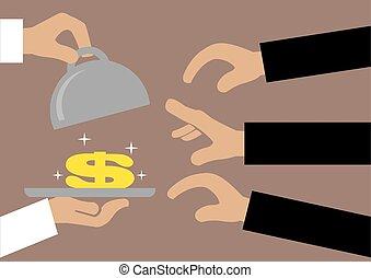 dinheiro, servido, mãos, bandeja, alcançar