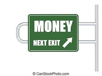 dinheiro, sinal estrada