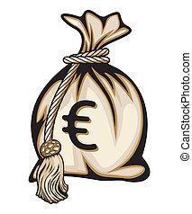 dinheiro, sinal, saco, euro
