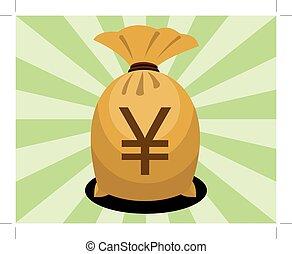 dinheiro, sinal, saco, iene