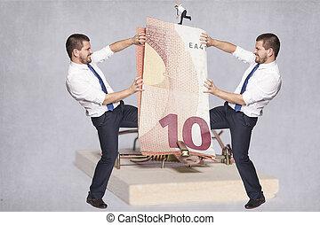 dinheiro, sobre, dois, luta, homens negócios