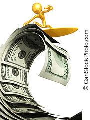 dinheiro, surfando, onda