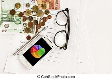 dinheiro, telefone, calculadora, caneta, papel, e, óculos, fundo branco, financeiro, analytics, conceito, calculando, orçamento, moeda corrente, equilíbrio