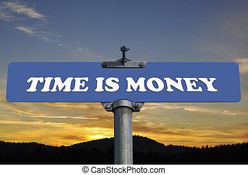 dinheiro, tempo, sinal estrada