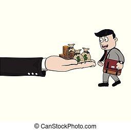 dinheiro, ter, homem negócios, pilha, mão grande