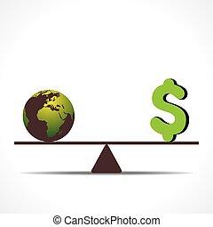 dinheiro, terra, conceito, escala