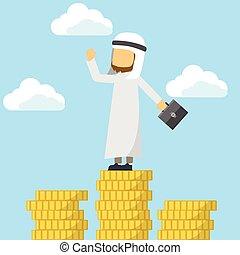 dinheiro, topo, árabe