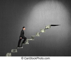 dinheiro, topo, homem negócios, escadas, escalando