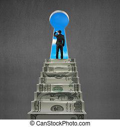 dinheiro, topo, olhar, buraco fundamental, escadas, homem