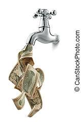 dinheiro, torneira