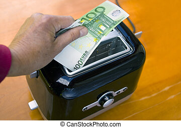 dinheiro, torradeira