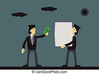 dinheiro, trabalho, pagar, caricatura, feito, delegação, ...