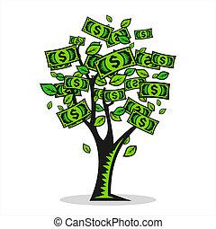 dinheiro, vetorial, árvore