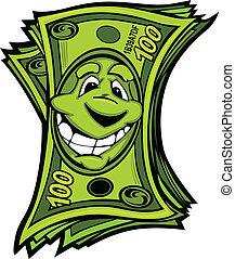 dinheiro, vetorial, caricatura, fácil, feliz