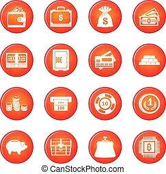 dinheiro, vetorial, jogo, ícones